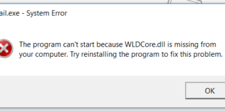 WLDCore.dll is Missing or Can Not Be Found Error