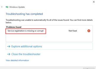 Service Registration is Missing or Corrupt on Windows 10