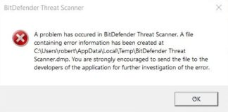 A problem has occurred in Bit Defender threat scanner