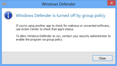 Windows Defender is Blocked by Group Policy