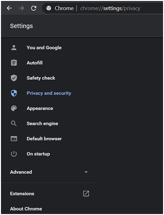 Using the Google Chrome Settings